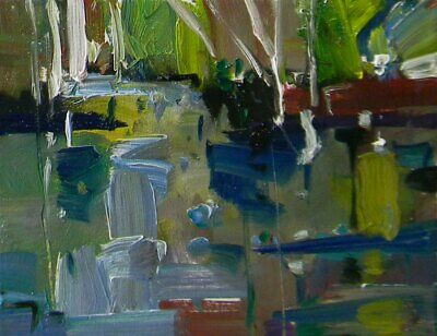 JOSE TRUJILLO ORIGINAL Impressionism OIL PAINTING RIVER ABSTRACT IMPASTO TEXTURE