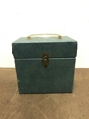 Vintage 45 RPM Record Case green vinyl storage chest locking crate trunk box 50s