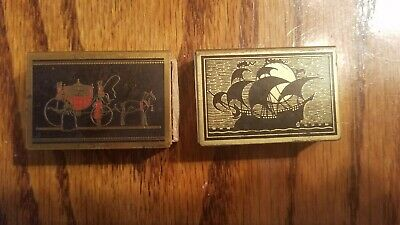 2 Vintage Antique Metal Wood Match Box - Ship & Horse Drawn Carriage