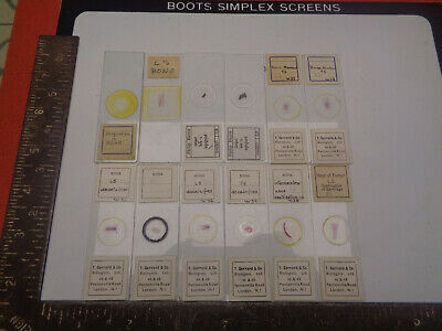 Set of 12 vintage prepared microscope slides T.Gerrard Phillip Harris LOTMA89K64