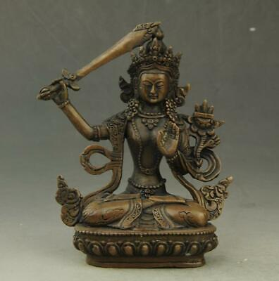 Chinese old pure  copper hand-carved KWAN-YIN Avalokitesvara statue c02