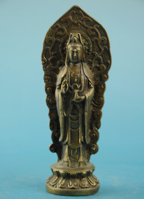 chinese old copper Hand carving Guanyin Buddha statue / xuande mark d01