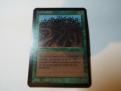 MAGIC THE GATHERING, MTG ALPHA GREEN COMMON CARD WALL OF WOOD, ex-nm