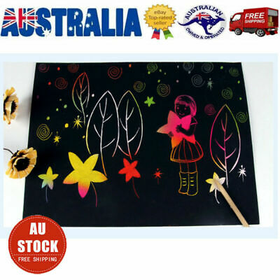 20X Magic Scratch Art Painting Paper With Wooden Drawing Stick Kid Adult DIY KIT