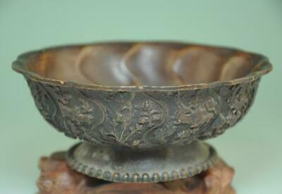 Old Chinese Pure Bronze Copper handmade Statue Dynasty Palace Tea cup Bowl Ad02E