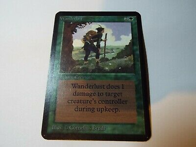 MAGIC THE GATHERING, MTG ALPHA GREEN UNCOMMON CARD WANDERLUST, ex