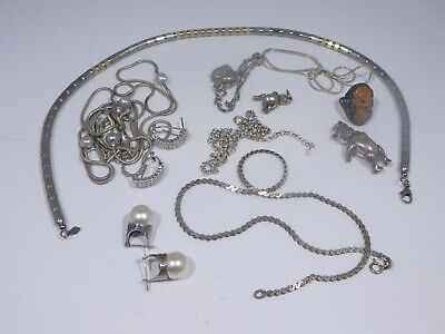 Interesting Assortment Of Sterling Silver Jewelry 75 Dwt