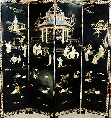ANTIQUE CHINESE Four Panel Screen -Black Lacquer With Semi Precious Stone Inlay