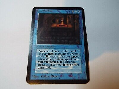 MAGIC THE GATHERING, MTG ALPHA BLUE UNCOMMON CARD STEAL ARTIFACT, ex