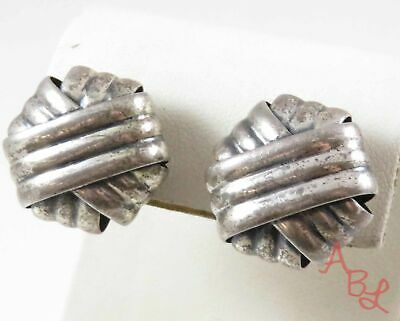 Napier Sterling Silver Vintage 925 Woven Clip On Earrings (19.2g) - 772216