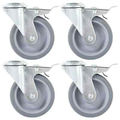 vidaXL 4x Bolt Hole Swivel Casters with Double Brakes 100mm TPR Trolley Wheel