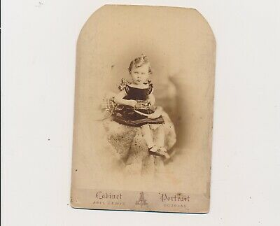 1880's Cabinet Card Good Looking Child Toy Horn Abel Lewis Photographer UK #1