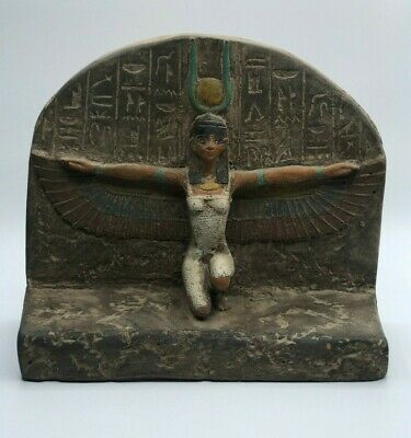 RARE EGYPTIAN ANTIQUES Winged ISIS GODDESS EGYPT Carved Stone STELA BC