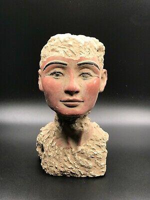 RARE EGYPT EGYPTIAN ANTIQUES Queen PHARAO NEFERTITI HEAD STATUE STONE BC