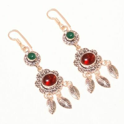 """Red Onyx With Green Chalcedony .925 Sterling Silver Earring 3"""""""