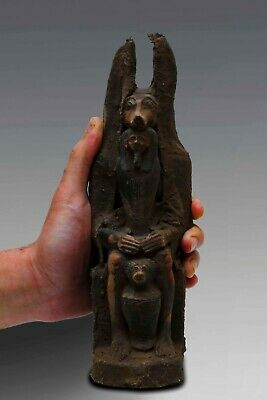 EGYPTIAN ANTIQUES ANUBIS EGYPT God Deity Dog Sit STATUE Carved STONE 3150 BC