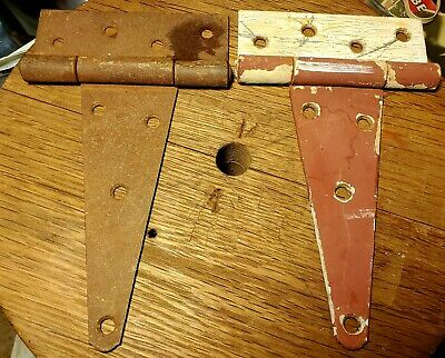 Two Vintage Large Heavy Duty T-Hinges Barn Shed Cabin Door Old Paint Pair #3