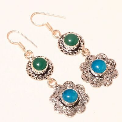 """Blue Chalcedony With Green Onyx .925 Sterling Silver Earring 2.2"""""""