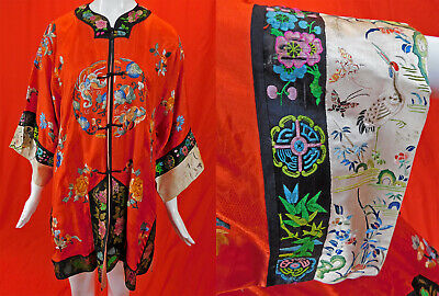 Milnor Importers Antique Chinese Red Silk Colorful Embroidery Butterfly Robe Vtg