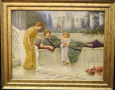 Large 19th Century Pre Raphaelite Ancient Classical Maidens & Child Flowers