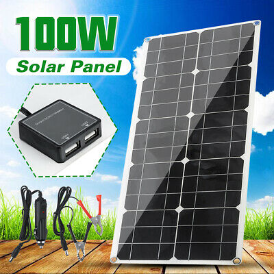 100W TWO USB Solar Panel Dual USB 12V Battery Charger Portable Car Boat Camping