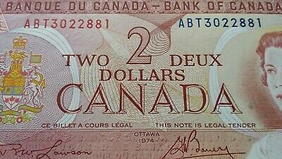 Canada $2 TWO DOLLARS 1974 QEII BANK OF CANADA Banknote  #  5