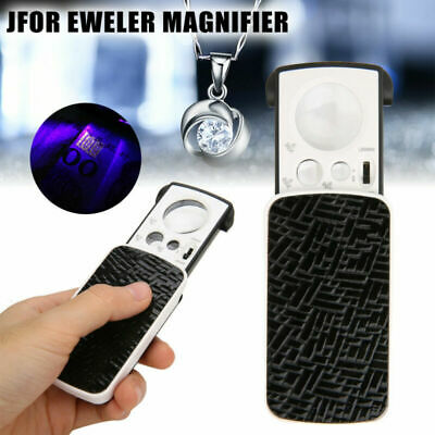 Jeweler Eye Glass Loupe Loop LED Lights 30X 60X 90X Pocket Magnifying Magnifier