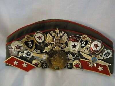 Vintage Russian/Soviet Union Pilotka Military Cap with 29 Badges (894S1)