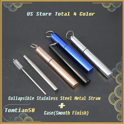 US 4 Color Reusable Collapsible Stainless Steel Metal Straw+Case(Smooth Finish)