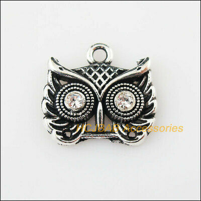 10 New Animal Owl Charms Tibetan Silver Tone Clear Crystal Pendants 16x18mm