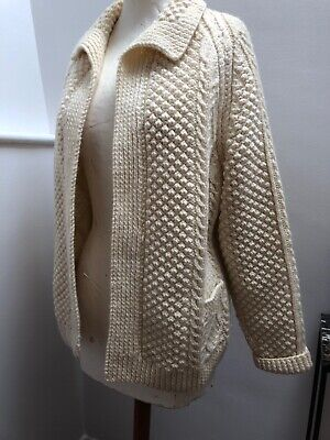 True Vintage Hand Made Aran Cardigan. Size 10/12