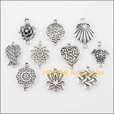 20 New DIY/ Connectors Charms Tibetan Silver Tone Flower Heart Shell Pendants