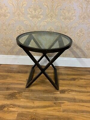Good Quality round x framed glass topped side table