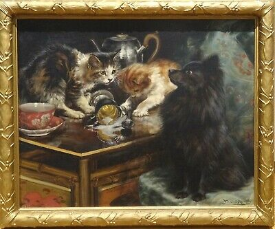 Large 19th Century Cats & Dog Pomeranian China & Silver Antique Oil Painting