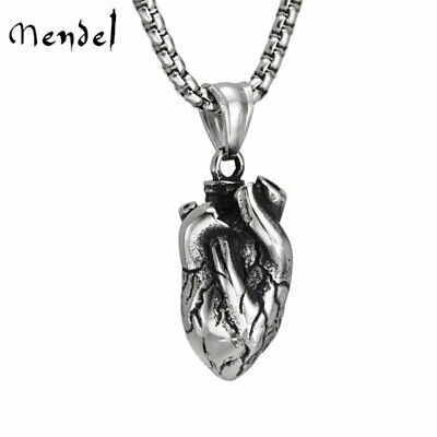 MENDEL Solid Stainless Steel Mens Anatomical Real Human Heart Pendant Necklace