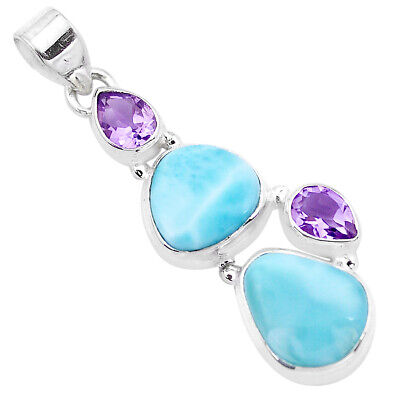 10.64cts Natural Blue Larimar Amethyst 925 Sterling Silver Pendant P20739