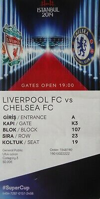 TICKET UEFA Super Cup 14.8.2019 Liverpool FC - Chelsea FC # Istanbul