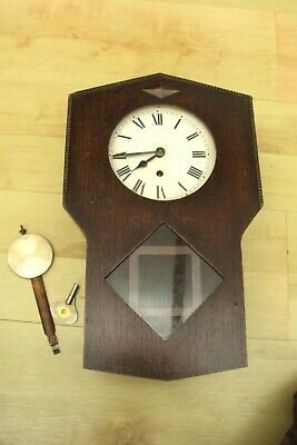 Wooden Mounted Wind Up Wall Clock Circa 1920-30S Spares Or Repair.
