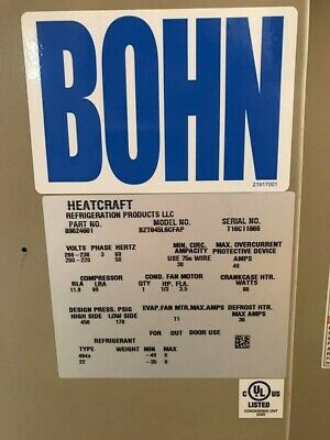 Heatcraft Bohn Walk-in Freezer Condenser/Compressor, NEW
