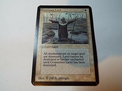 MAGIC THE GATHERING, MTG ALPHA WHITE UNCOMMON CARD CONSECRATE LAND, ex-nm
