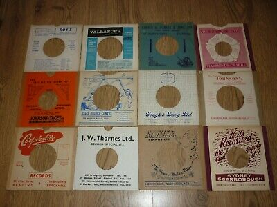 24 x VINTAGE RECORD SHOP CARD SLEEVES - NEWCASTLE / GATESHEAD / HULL / YORKSHIRE