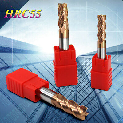 Steel CNC Straight Shank 4 Flute Milling Cutter End Mill Carbide Tin Coated