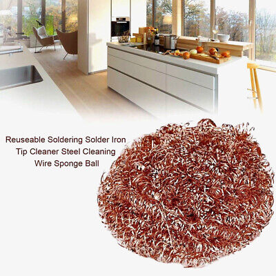Soldering Solder Iron Tip Cleaner Brass Cleaning Wire Sponge Ball Y9R1J