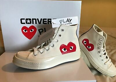 CONVERSE X COMME des Garcons CDG Play All Star White High Top UK 8