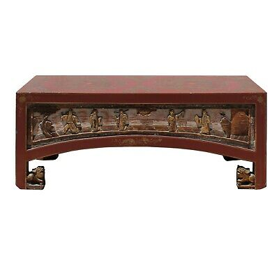 Chinese Lacquered Golden Graphic Low Kang Table Display Stand cs5280