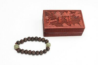 Chinese Antique/Vintage Carved Agarwood Prayer Beads With Cinnabar Box
