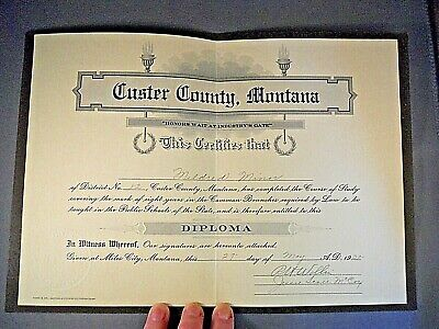 Vintage Diploma Custer County High School Notarized Miles City Montana 1932