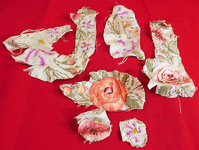 Antique 19th Century Silk Ombre Rosette Ribbon Work Embroidery Dress Trim Lot