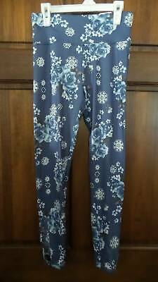 NWT ~ JUSTICE Blue white floral leggings  Full length Ladder cutouts Girls 14 16