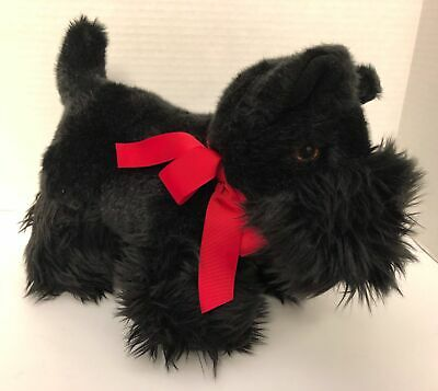 "Martha Stewart Black SCOTTISH TERRIER Puppy Dog 11"" Plush Red Bow Scottie"